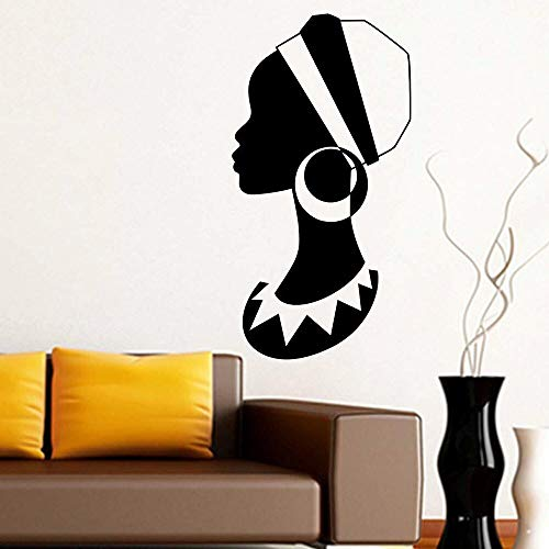 African Woman Wall Decal Big Earrings Fashion Girl Bedroom Beauty Salon Interior Decoration Doors and Windows Vinyl Stickers Mural Art