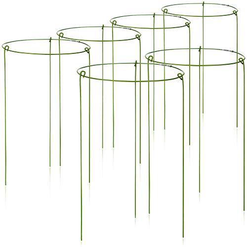 com-four® 6X Blumen- und Staudenhalter 28cm - Strauchstütze rund - Buschstütze für Blumen, Rankengewächse und Stauden - Ø 18 cm
