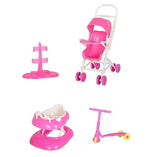NaiCasy Casa de muñecas bebé del Carro de la Compra Vespa de la muñeca de Juguete Juego de casa de muñecas Accesorios con el Cochecito de bebé Walker Vespa muñeca destacan de Playhouse