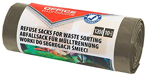 Office Products 22025232-18 - Bolsas de basura (120 L, 10 unidades, para la separación de residuos orgánicos, resistente al desgarro (LDPE), color marrón