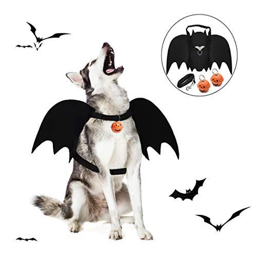 Dorakitten Hunde Halloween kostüm, Hund Fledermaus Kostüm Fledermausflügel-Kostüm mit Leine Kürbis Glocke und Ring für Cosplay Party Weihnachten Special Events