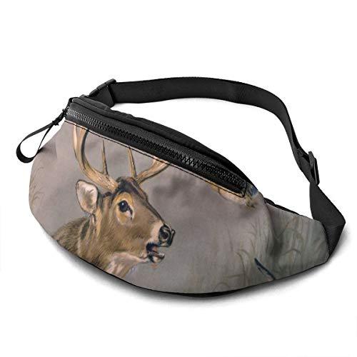 Gkf Waist Pack Bag for Men&Women, Deer Birds Lake Utility Hip Pack Bag with Adjustable Strap for Workout Traveling Casual Running