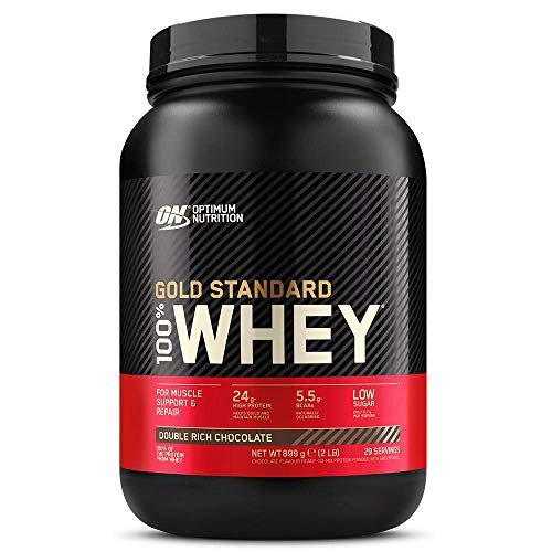 Optimum Nutrition ON Gold Standard Whey Protein Pulver, Eiweißpulver zum Muskelaufbau, natürlich enthaltene BCAA und Glutamin, Double Rich Chocolate, 29 Portionen, 900g, Verpackung kann Variieren