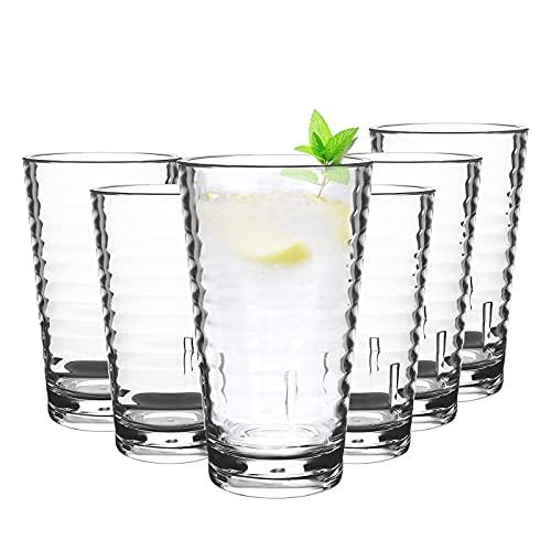 6Pcs 385 ml Vasos Apilables Plástico Premium Irrompible Reutilizable,Vaso Transparente Reutilizable Vasos de Agua de Plástico Acrílico Reutilizables Vasos de Acrílico para Adultos Clear