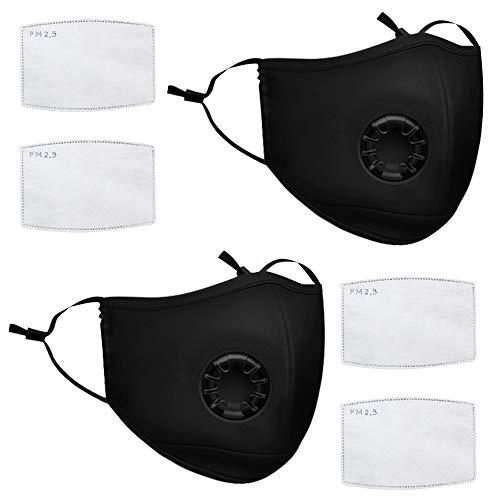 Vivibel Anti-Staub-Maske, 2 Pack Outdoor Anti Verschmutzung Maske wiederverwendbar Anti-Staub-Masken waschbar Anti-Haze Gesichtsmaske Schutzmaske Atemschutzmaske mit Filter-Baumwoll-Blatt
