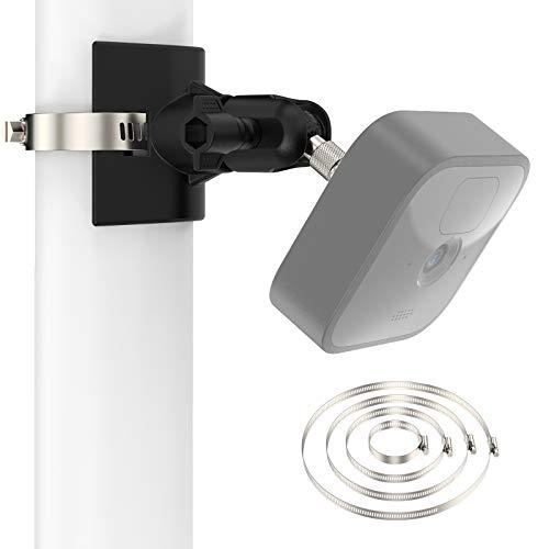 360° Kamera Halterung für Blink Mini / XT2 / Indoor/Outdoor mit 4X Verstellbare Rohrschelle (Ø 1.9-7.8 Zoll) - Außen- und Innenanwendungen Blink überwachungskamera Holder Säule Wasserrohr (2 Pack)
