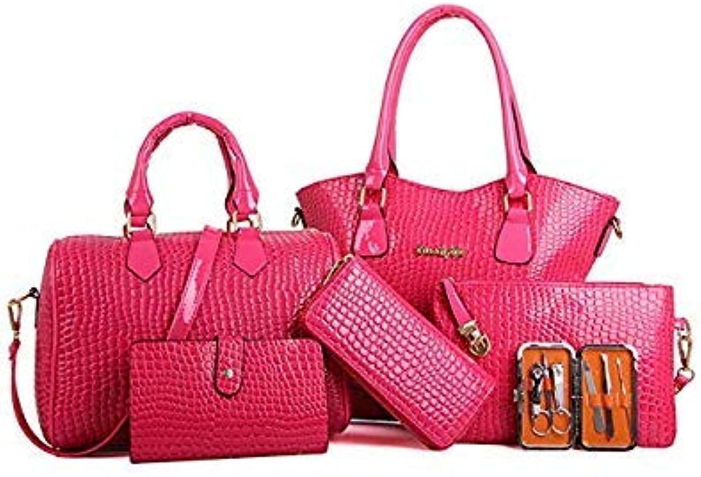 Bloomerang Hot Sale Women Six Set Fashion Handbag Lady High Quality Leather Shoulder Bags Six Pieces Tote Bag Crossbody Bags bolsos T color Pink mid