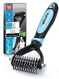 Bluepet® UnterwollToll Hundebürste & Katzenbürste für langhaar | Unterwollkamm entfernt Unterwolle & Verfilzungen | Massageffekt & Deckhaarschutz | Fellbürste Größe S-M Blau