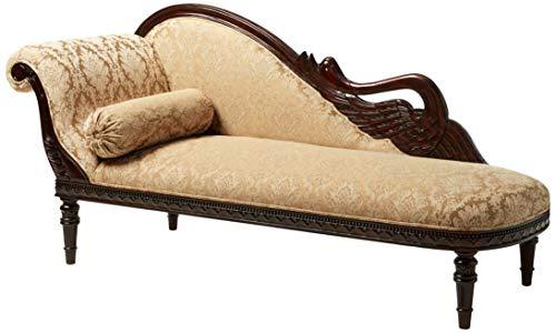 Design Toscano Swan Fainting Left Version Couch, 73', walnut