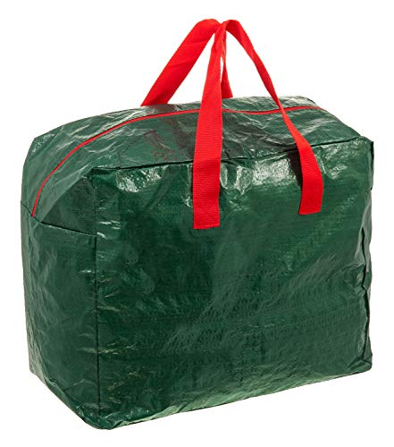 Fineway. Christmas Tree Decoration Lights Zip Up Sack Storage Bag Organiser– Heavy Duty – With Carrying Handles – Stores Ribbon Baubles Tinsel Wreath Stocking Lights Bow Tags Tidy (Decoration Bag)