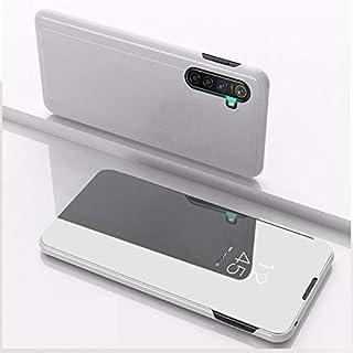 OPPOケース OPPO Realme XT / K5用/ Realme X2メッキミラー左右反転レザーカバー付き携帯電話ホルスタースタンド OPPOケース (色 : Silver)