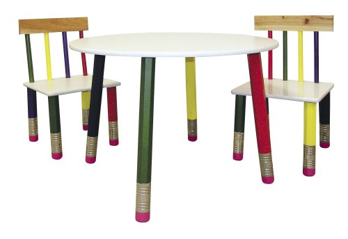 ORE International Kids Primary-Color Table 3-Piece Set, White