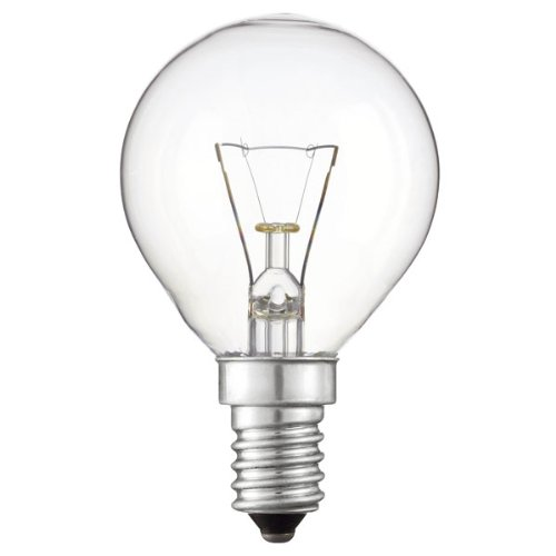 Bombilla esférica incandescente clara 125V 60W de rosca E14