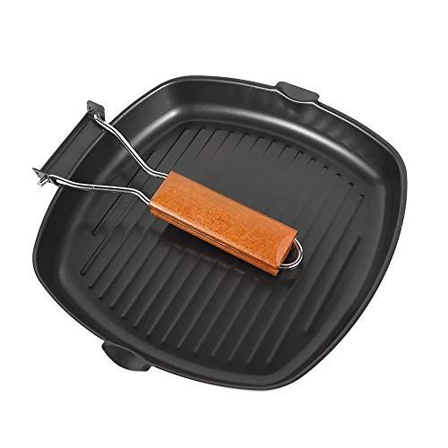 Sarten Grill Antiadherente, Manejar ollas y preparación Mango Extraíble Grill asador con rayas en Hierro Fundido,Inducción sin PFOA, Negro, 20 cm