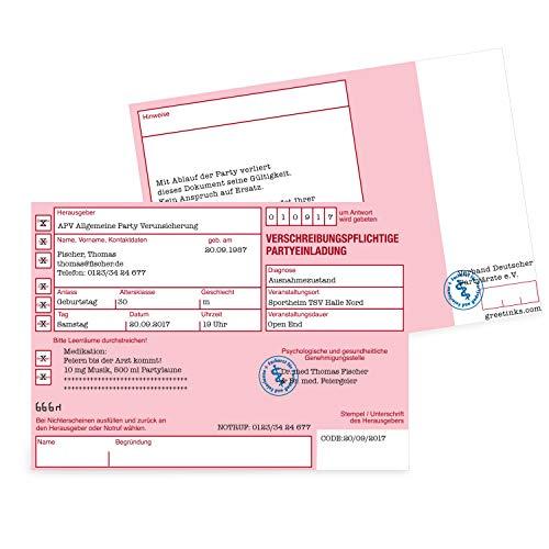 Einladungskarten zum Geburtstag als Rezept | 20 Stück | Inkl. Druck Ihrer persönlichen Texte | Lustige Geburtstagseinladungen - individuell | Karte Einladung