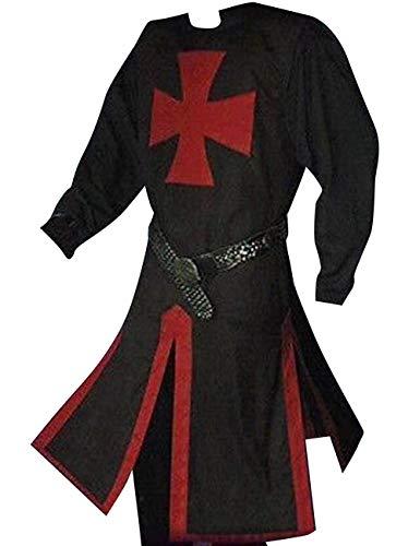 Fueri Disfraz de caballero medieval para hombre, túnica, templo vikingo, para carnaval, cosplay, falda de arma roja-negro, M