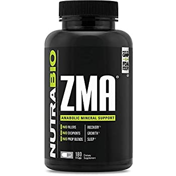 NutraBio ZMA Vegetable Supplement - Anabolic Mineral Support - 180 Capsules - Recovery Growth Sleep - Zinc Magnesium and B6 Formula