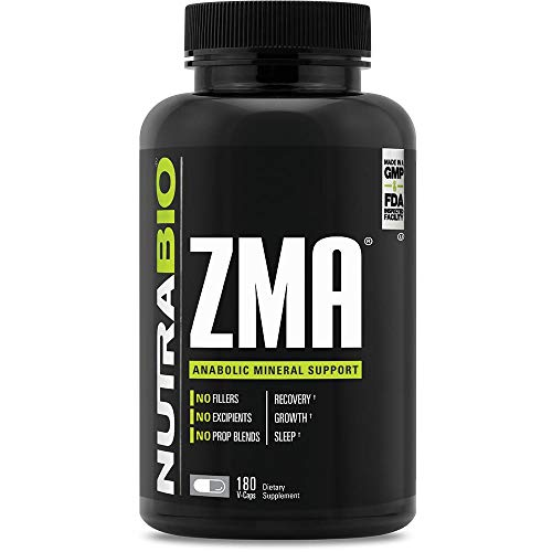 NutraBio ZMA Vegetable Supplement - Anabolic Mineral Support - 180 Capsules - Recovery, Growth, Sleep - Zinc, Magnesium, and B6 Formula