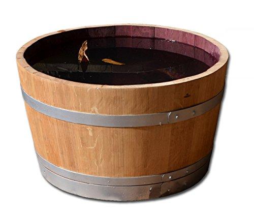 Temesso Holzfass als Pflanzkübel, Weinfass halbiert geschliffen und lackiert mit silbernen Ringen (D70 cm) (ohne Zubehör mit Ablaufbohrungen)