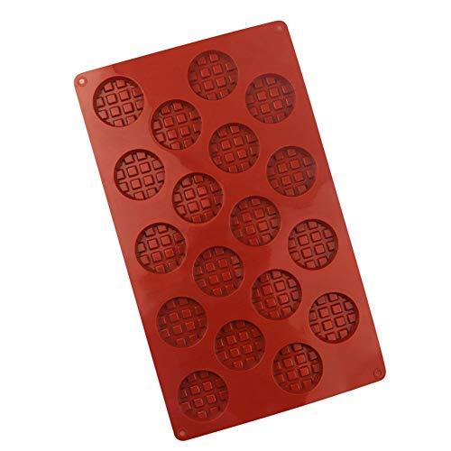 Moligin Waffel-Mold 18 Grids Silikon-runde, Miniwaffel Bakeware Form-DIY Runde Keks-schokoladen-Form Backzubehör Claret