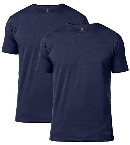 LAPASA Uomo T-Shirt Pacco da 2 –Cotone ELS Premium- Maglietta Girocollo Soffice e Flessibile Slim Fit Maniche Corte M05 (Small, Blu Navy)