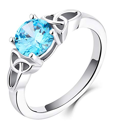 YL Celtic Knot Rings for Women 925 Sterling Silver Created Aquamarine 18k White Gold Plated Statement Rings-size8