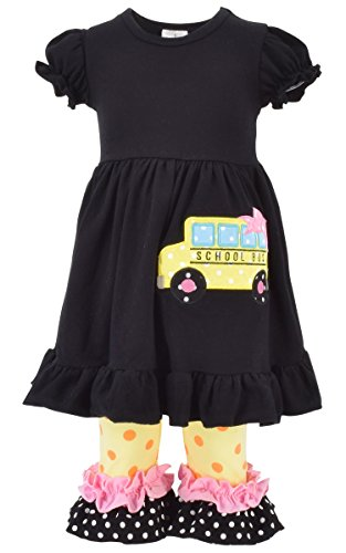 Unique Baby Girls Back to School Bus Tunic Boutique Outfit (7/XXL, Black)