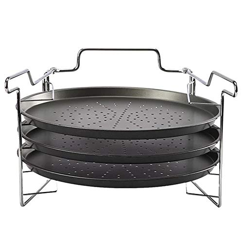 Nanad - Set da 4 pezzi per pizza, 3 teglie da forno antiaderenti con supporto, in acciaio al carbonio, 30 cm (colore nero)