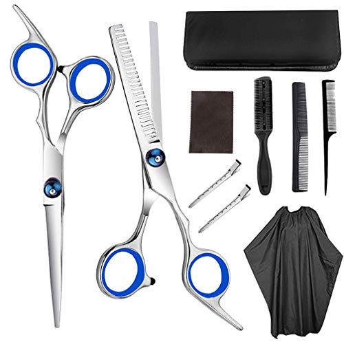 10pcs Juego de tijeras para cortar el cabello Capa de peluquero Pinzas para el cabello Peine Tijeras rectas Tijeras para adelgazar Kit de corte de cabello Tijeras de corte de pelo de acero inoxid