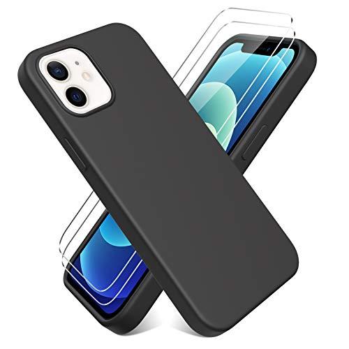 Oududianzi - Cover per iPhone 12 iPhone 12 PRO(6.1  ) + [2 Pack] Pellicola Protettiva in Vetro Temperato, Custodia Liquid Silicone TPU Cover Ultra-Sottile AntiGraffio Antiurto Case - Nero