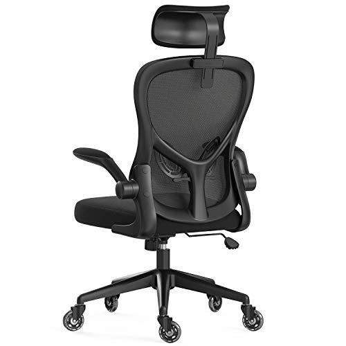 Hbada Ergonomischer Bürostuhl, Schreibtischstuhl mit hoher Rückenlehne, Computerstuhl mit hochklappbarer Armlehne, Lordosenstütze, verstellbare Kopfstütze, Schwarz