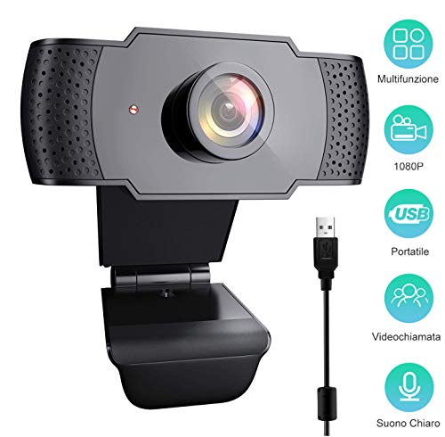 VESSTT Webcam per PC, Full HD 1080P Videocamera con Microfono PC Laptop Desktop Computer USB 2.0 Full HD Videocamera con Clip Regolabile per Videochiamata, Studi, Conferenze, Registrazione e Giochi