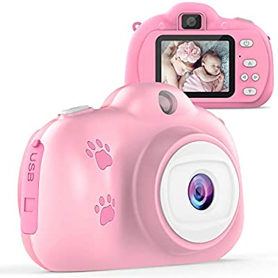 TECBOSS Kids Selfie Camera, Birthday Gifts for 3-10 Year Old Girls, HD Digital Video Cameras for Toddlers, Kids Toys for 3 4 5 6 7 8 Year Old Girls Boys, 1280P 8MP with 2 Inch IPS Display by TECBOSS