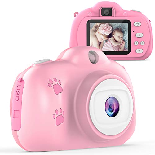 TECBOSS Kids Selfie Camera, Birthday Gifts for 3-10 Year Old Girls, HD Digital Video Cameras for Toddlers, Kids Toys for 3 4 5 6 7 8 Year Old Girls Boys, 1280P 8MP with 2 Inch IPS Display