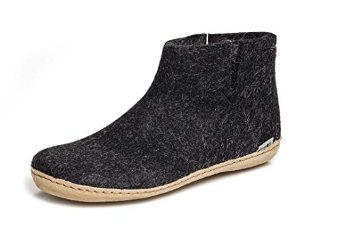 glerups dk G Ankle Shoe - Erwachsene Filz-Stiefel, Damen,Herren Huettenschuhe,Filz-Schuhe,Filz-Pantoffel,Pantoletten,Puschen Schwarz, 45 EU / 10.5 UK