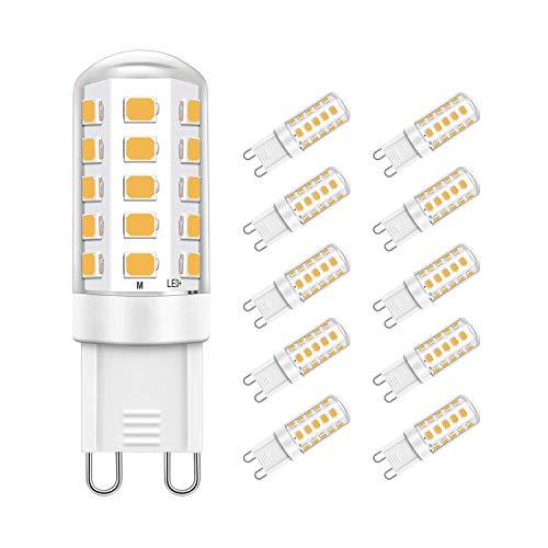 Jpodream® Ampoule LED G9, 5W 32 x 2835 SMD Ampoules Économie D'énergie, 400LM, Equivalente 40W Halogène Lumière, Blanc Chaud 2700K, AC220-240V, 360° Angle de Faisceaux - Lot de 10