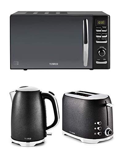 Kitchen Tower Black Glitz Stylish 2 Slice Toaster, 3kW Jug Kettle and Tower Black Digital Microwave
