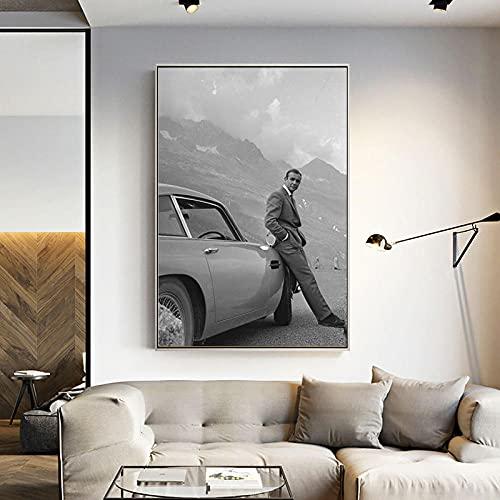 zuomo Sean Connery 007 Classic Movie Poster E Stampe su Tela Pittura Immagini sul Muro Vintage Art Complementi Arredo Casa 60x90 cm Senza Cornice