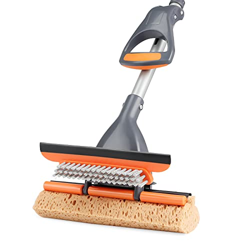 3 in 1 Sponge Mop,Roller Mop with Extendable Handle and Squeegee for Floor Cleaning