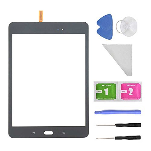 Touch Screen Glass Digitizer for Samsung Galaxy Tab A 8.0 SM-T350 T350 (Not Include LCD) + PreInstalled Adhesive with Tools with Tool(Black)