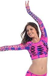 Kurve Neon Fuchsia Tie Dye Ripped Long Sleeve Crop Dance Top