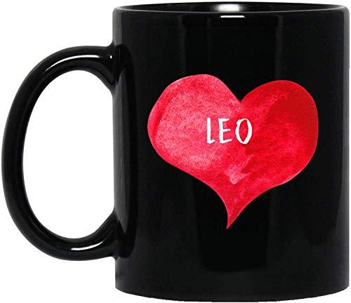 Taza de té, color blanco, I Love Leo con forma de corazón, taza de café personalizada, 325 ml, nombre personalizado, taza de regalo