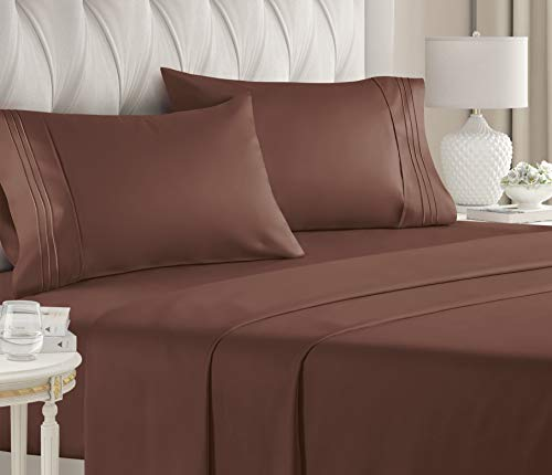 Twin Size Sheet Set - 4 Piece Set - Hotel Luxury Bed Sheets - Extra Soft - Deep Pockets - Easy Fit - Breathable & Cooling - Wrinkle Free - Comfy - Brown Chocolate Bed Sheets - Twins Sheets - 4 PC
