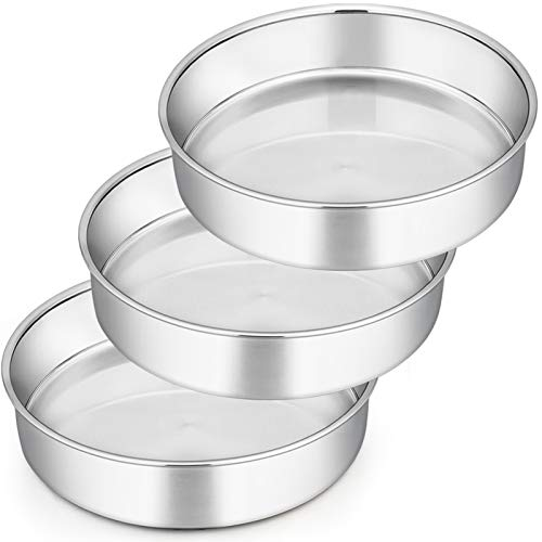 Cake Tin, Homikit 9½inch Round Cake Tin Mould Set of 3, Layer Cake Tins Stainless Steel Cake Baking Pans for Christmas Birthday Wedding, Healthy & Durable, Mirror Finished & Dishwasher Safe