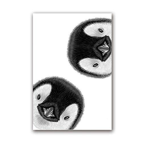Nobrand Curioso Pinguïn wekker design op canvas druk muurposter kunstdruk schilderij dieren schattige pinguïn afbeelding kinderkamer decoratie zonder lijst 50 x 70 cm