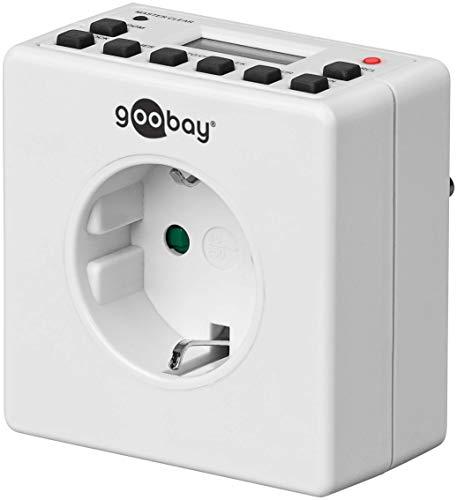 Goobay 93256 Digitale Zeitschaltuhr Innen – Geräuschlos - Programmierbar - Dauerbetrieb möglich – 10 Schaltprogramme - Back Up Akku f. 4 Tage – Unauffälliges Design