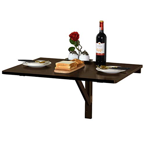 Goplus Tavolino Pieghevole a Muro, Salva Spazio da Parete da Ingresso in Legno Ideale per Sala da Pranzo, 80x60x43cm (Marrone)