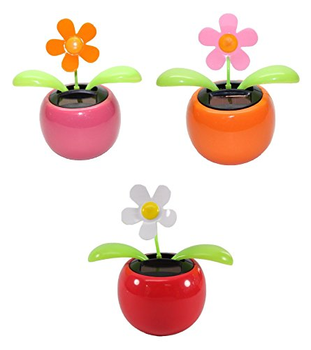Set of 3 ~ 1 Pink Daisy+ 1 Orange Daisy+ 1 White Daisy in Assorted Colors Pots Solar Toy US Seller Great Birthday Easter Gift Car Dashboard Office Desk Home Decor