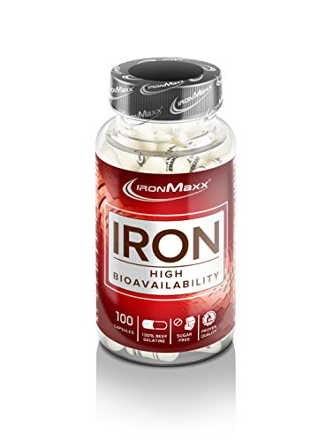IronMaxx Eisen Kapseln – Eisengluconat – 14 mg reines Eisen pro Kapsel – hohe Bioverfügbar keit und hervorragende Verträglichkeit – 1 x 100 Kapseln
