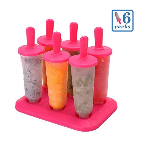 PECHTY Eisformen, 6 Eisförmchen Popsicle Formen Set, EIS am Stiel Bereiter, Stieleisformer LFGB Geprüft und BPA Frei Perfekt für Kinder und Erwachsene (rot)